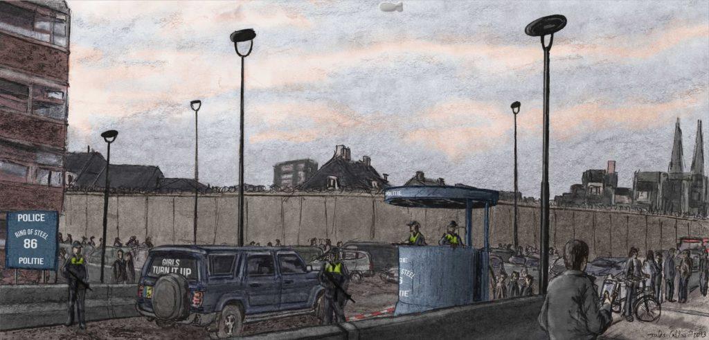 Tilburg after the war, Piusplein (digital painting)
